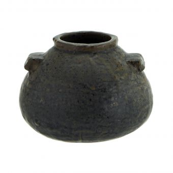 Madam Stoltz Steingut Vase schwarz S