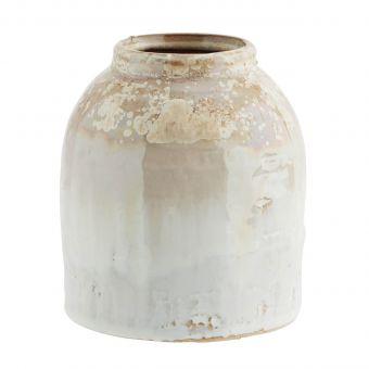Madam Stoltz Steingut Vase honig-weiss S