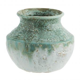 Madam Stoltz Steingut Vase grün-weiss S