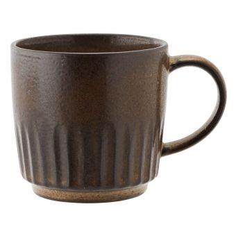 Madam Stoltz Tasse Grooved braun