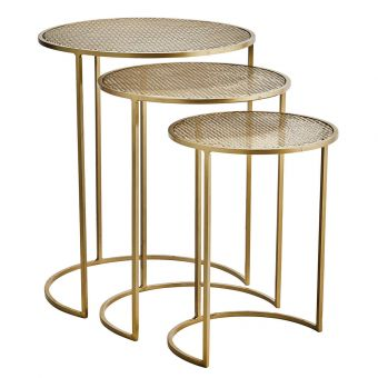 Madam Stoltz Beistelltisch Set Metall messing