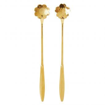 Rice Latte-Löffel Blume gold