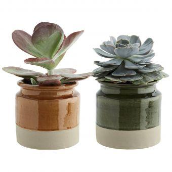 Madam Stoltz Blumentopf Terracotta amber & grün