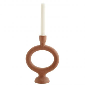 Madam Stoltz Steingut Kerzenständer ziegelrot