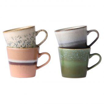 HK Living Cappuccino Tassen Set 70's