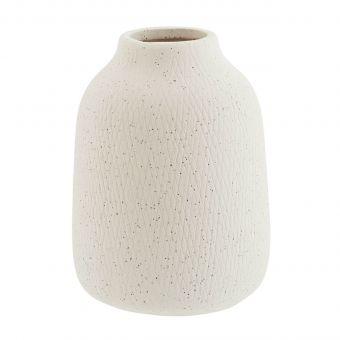 Madam Stoltz Steingut Vase Matt weiss