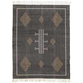 Madam Stoltz Teppich Handwoven schwarz