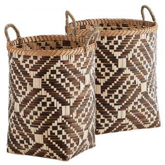 Madam Stoltz Korb Set Bambus braun