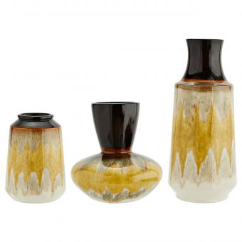 Madam Stoltz Steingut Vase gelb