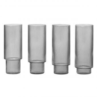 Ferm Living Londrink Glas Set Ripple grau