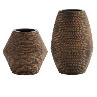 Madam Stoltz Vase Striped braun