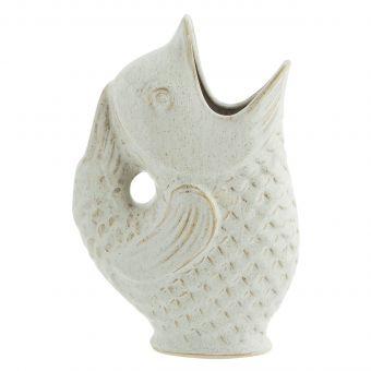 Madam Stoltz Steingut Vase Fisch weiss